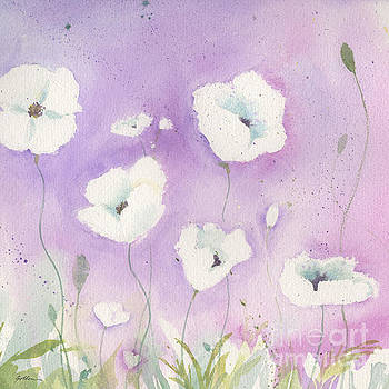White Poppies, Violet Sky by Sheila Golden