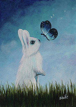 White Rabbit With Butterfly Paintings by Shawna Erback
