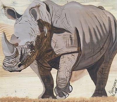 White Rhino on Rustic Wood by Debbie LaFrance