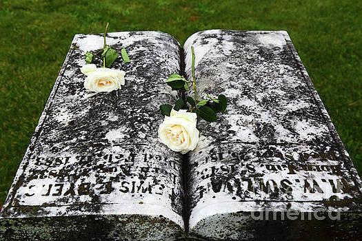James Brunker - White Roses on Tombstone for Memorial Day