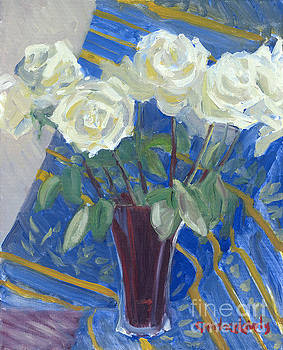 Candace Lovely - White Roses with Red and Blue