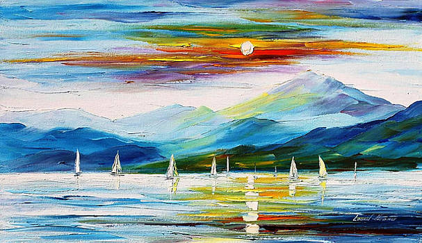 White Sails - PALETTE KNIFE Oil Painting On Canvas By Leonid Afremov by Leonid Afremov