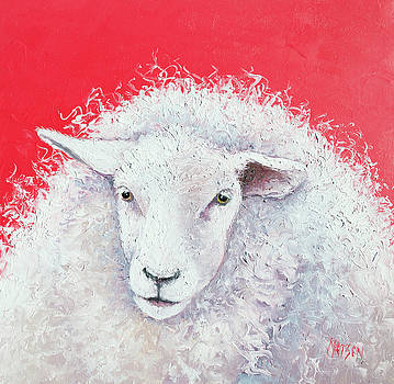 White Sheep on red background by Jan Matson