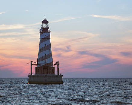 White Shoal Lighthouse at Sunset by Kimberly Kotzian