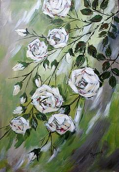 White tea Roses by Cathy MONNIER
