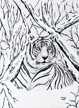 White tiger blending in by Teresa Wing