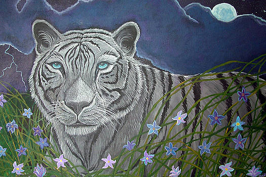 Nick Gustafson - White tiger in moonlight