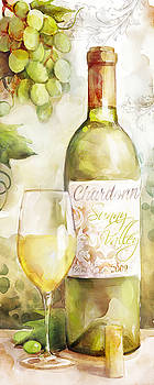 White Wine Watercolor by Mauro DeVereaux