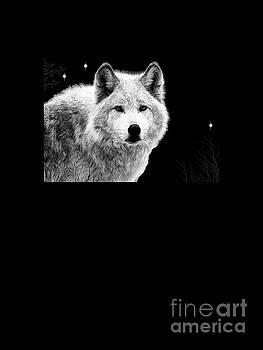 White Wolf T-Shirt by Sharon K Shubert