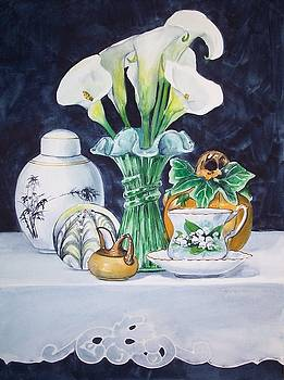 White Yellow and Green Composition by Jane Loveall