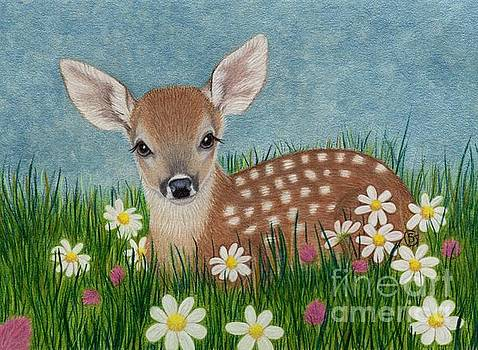 Whitetail Fawn Hiding in the Flowers by Sherry Goeben