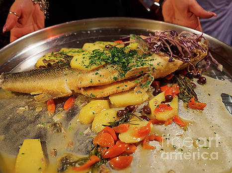 Whole sea bass with vegetables by Louise Heusinkveld