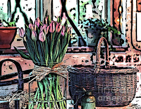 Wicker Basket And Flowers by Phil Perkins