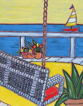 Wicker Swing with Ocean View by Brooke Baxter Howie