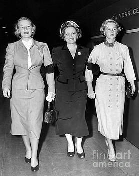 Wife of Governor of California, Earl Warren, Virginia and Nina as they walk from train. 1951 by Barney Stein