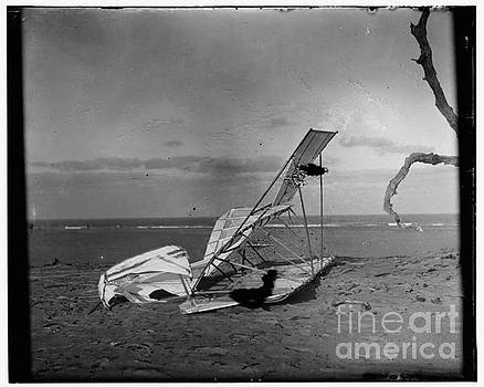 R Muirhead Art - Wilbur and Orville Wright Crumpled glider wrecked by the wind on Hill of Wreck named after shipwreck