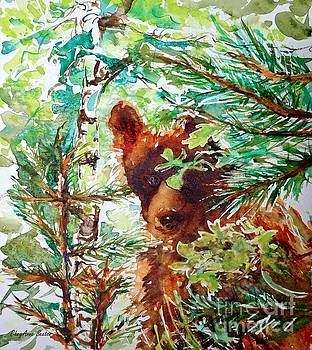 Wild Bear Peek-a-boo watercolour by CheyAnne Sexton