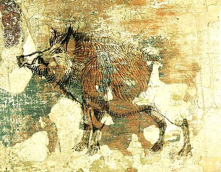 Wild Boar Cave Painting 1 by Larry Campbell