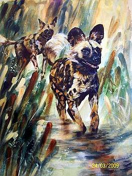 Wild Dogs Chase by Estelle Hartley
