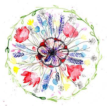 Wild Flower Botanical Mandala by Louise Gale
