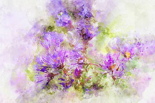 Wild Flowers in the Fall Watercolor by Michael Colgate