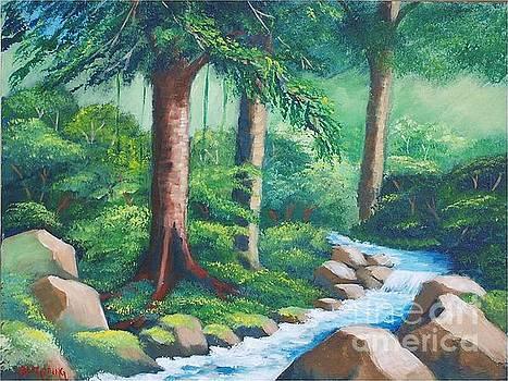 Wild forest River by Jean Pierre Bergoeing