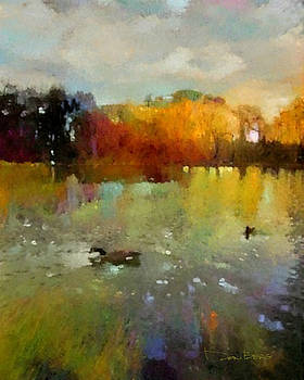 Wild Geese on the Lake at Sunset by Don Berg