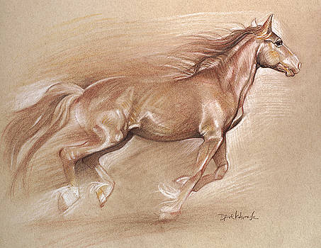 Wild Horse II - Wildlife Drawing  by Dave Kobrenski