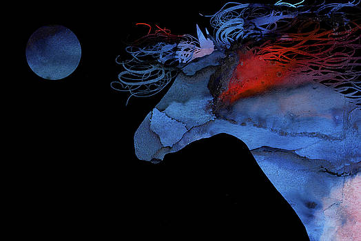 Wild Horse under a full Moon Abstract by Michelle Wrighton