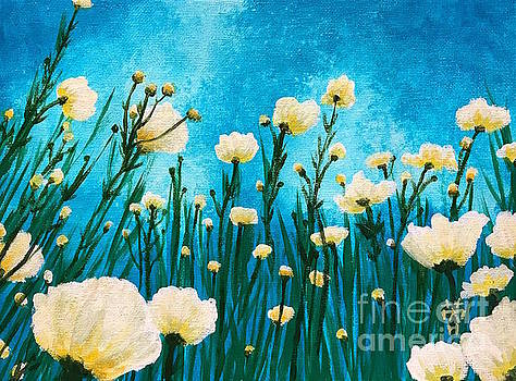 Poppies in the blue sky by Wonju Hulse