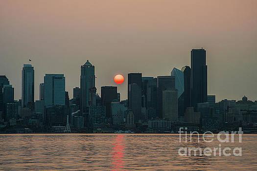 Wildfire Haze At Sunrise Seattle by Mike Reid