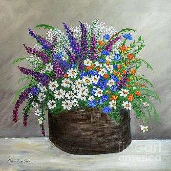 Wildflower Basket Acrylic Painting A61318 by Mas Art Studio