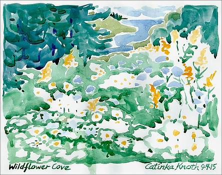 Wildflower Daisies Coastal Floral Landscape by Catinka Knoth