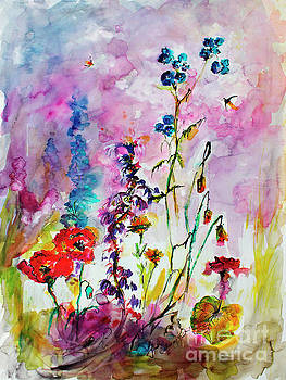 Ginette Callaway - Wildflower Gathering Watercolor and Ink Painting
