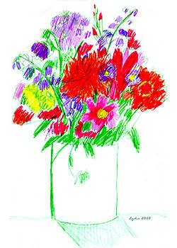 Lydia L Kramer - Wildflowers drawing