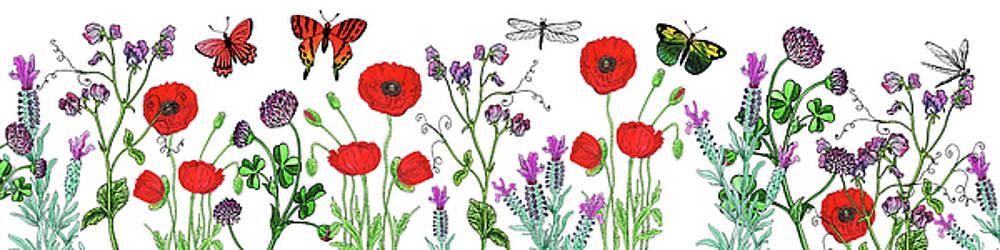 Wildflowers Field With Butterflies And Dragonflies by Irina Sztukowski