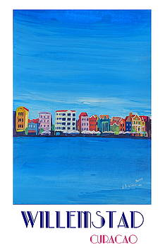 Willemstad Curacao Waterfront in Blue Caribbean - Antilles - Retro Poster Fine Art Print Active by M Bleichner