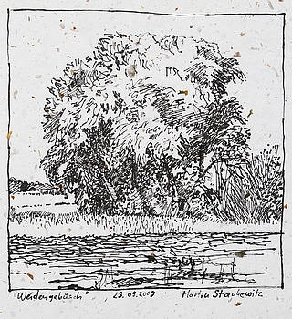 Martin Stankewitz - willow trees in the fields romantic ink drawing