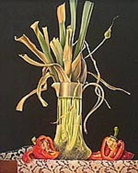 Wilted Leeks in Glass Pitcher with Red Peppers by Judith Lamb