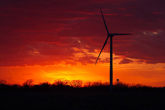 Wind Energy Turbine Sunset by Toni Thomas