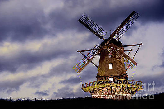 Wind mill at night by Vyacheslav Isaev