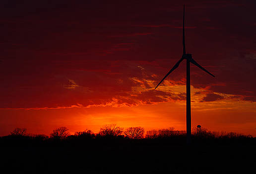 Wind Turbine at Sunset by Toni Thomas
