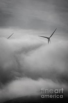 Wind turbines in the mist by Howard Ferrier