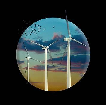 Wind Turbines Painted Sky by Doug LaRue