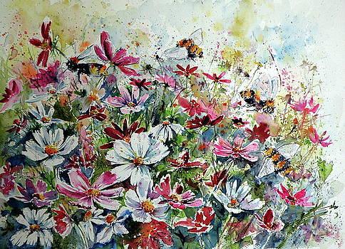 Windflowers with bees by Kovacs Anna Brigitta