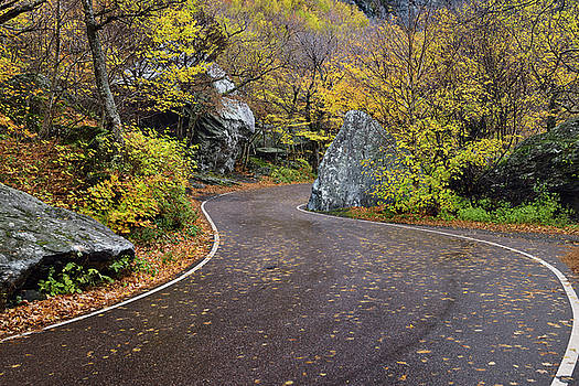 Reimar Gaertner - Winding road through boulders at Smugglers Notch State Park Verm