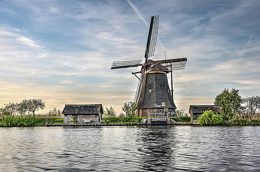 Windmill and Canal in Kinderdijk by Frans Blok