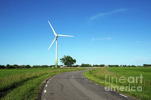 Windmill by a country road side by Kennerth and Birgitta Kullman
