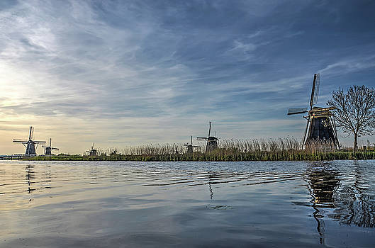 Windmill Reflecting in Kinderdijk Canal by Frans Blok