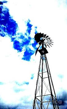 Windmill with clouds by Cindy New